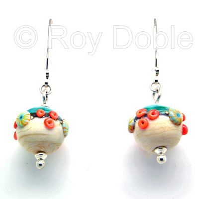 Beach Art glass earrings