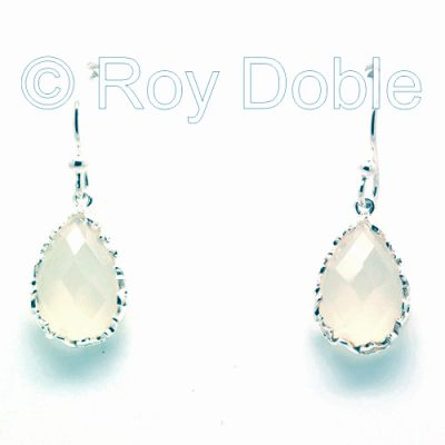 Silver & rock crystal earrings