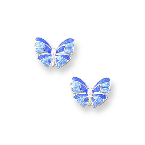 Silver and enamel butterfly earrings
