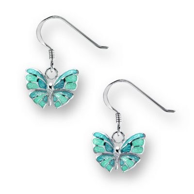 enamelled silver butterfly earrings